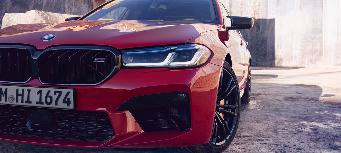 BMW Laserlicht BMW M5 Competition F90 LCI Facelift 2020 BMW Individual Imola Rot Nahaufnahme Front